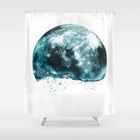 lunar Shower Curtains featuring lunar water by sustici