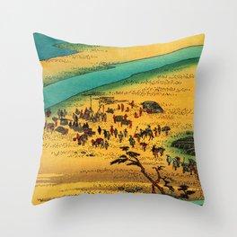 Fording the River at Shimada Japan Throw Pillow