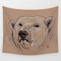 polar bear Wall Tapestries featuring Polar Bear by Ursula Rodgers