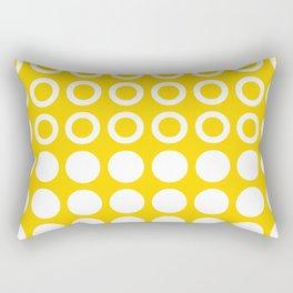 Mid Century Modern Circles And Dots Yellow Rectangular Pillow