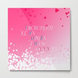 Amour Alphabet Love Rose Pink Glitter Design Metal Print