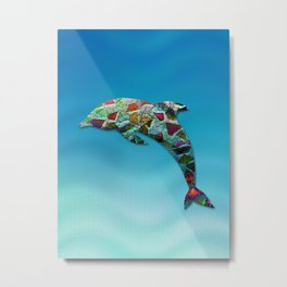 Animal Mosaic - The Dolphin Metal Print