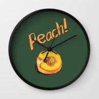 peach Wall Clocks featuring Peach by Ken Coleman
