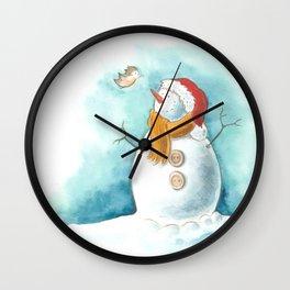 A snowman and a little bird Wall Clock