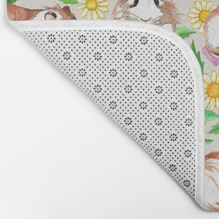 Guinea Pigs and Daisies in Watercolor Bath Mat