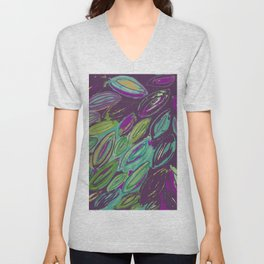 Purple Watercolor Leaves--painted and digital Unisex V-Neck