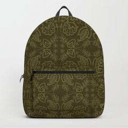 Floral leaf paisley motif running stitch style. Backpack