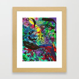 Traditional Abstract Watercolor and Ink Cardinal Framed Art Print