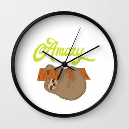 """For Animal Lovers Great Sloth Shirt For Animal Lovers """"Lazy But Amazy"""" T-shirt Design Lazy Sleepy Wall Clock"""