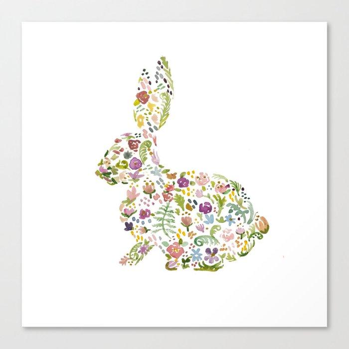 Springtime Flower Bunny Canvas Print
