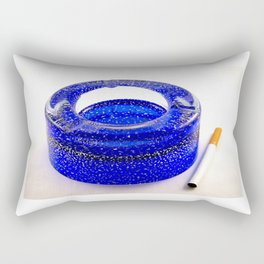 Blue ashtray and a cigarette Rectangular Pillow