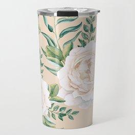 Garden Roses Mandala Pink Green Cream Travel Mug