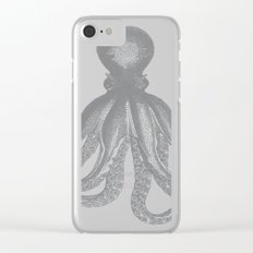 Octopus | Grey and White Clear iPhone Case