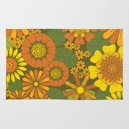 Orange, Brown, Yellow and Green Retro Daisy Pattern Rug