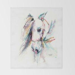 Fantasy white horse Throw Blanket