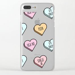 Sassy Valentines Candy Heart Pattern Clear iPhone Case