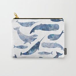 Whales, whale art, whale painting, whale wall art, watercolour whales, ocean Carry-All Pouch
