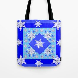 DECORATIVE BABY BLUE SNOW CRYSTALS BLUE WINTER ART Tote Bag