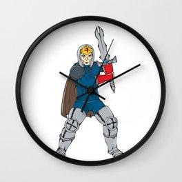 Knight Wielding Sword Front Cartoon Wall Clock