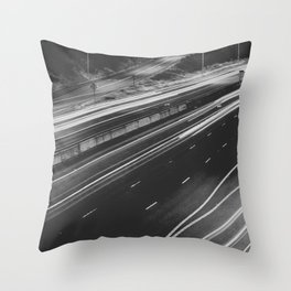 Seattle at Night - Black and White Throw Pillow