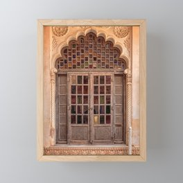 Wooden stained glass door at Jodhpur Fort, India Framed Mini Art Print