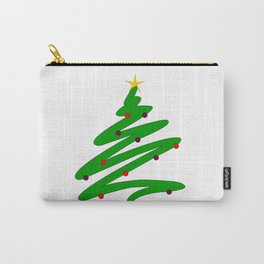 Minimalist Green Christmas Tree Doodle with Ornaments and Star Carry-All Pouch