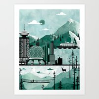 travel poster Art Prints featuring Vancouver Travel Poster Illustration by ClaireIllustrations