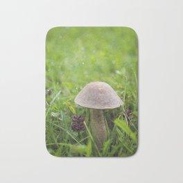 Mushroom in the Morning Dew by Althéa Photo Bath Mat