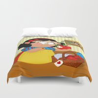 snow white Duvet Covers featuring Snow White (apple) by Alapapaju