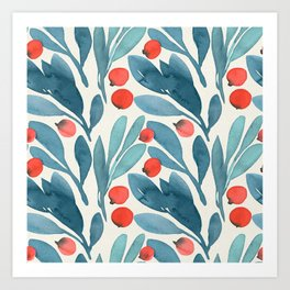 Winter Berries Botanical Pattern Art Print