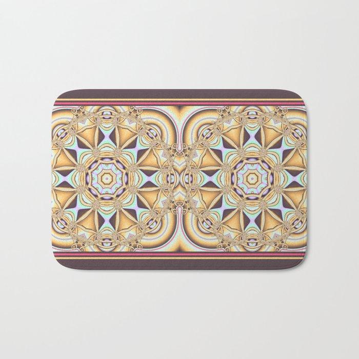 Elegant golden geometric kaleidoscope Bath Mat