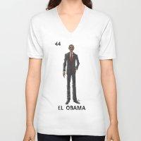 """obama V-neck T-shirts featuring EL OBAMA by """"dfrnt"""""""