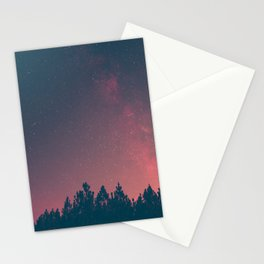 Pink And Black Milky Way Galaxy Forest Stationery Cards