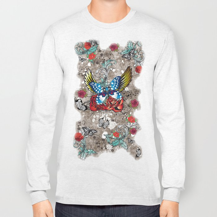 Butterfly with Roses Long Sleeve T-shirt