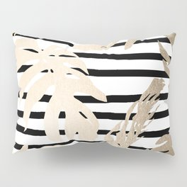 Simply Tropical White Gold Sands Palm Leaves on Stripes Pillow Sham