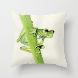 Glass Frog on leaf stem Throw Pillow