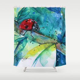 Ladybug - by Kathy Morton Stanion Shower Curtain