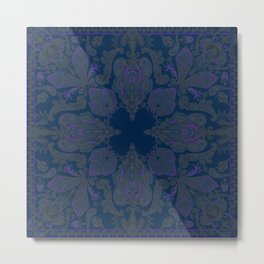Midnight Blue Gipsy Paisley Metal Print