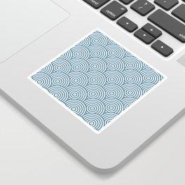 Geometric Scales Pattern - Blue & White #453 Sticker