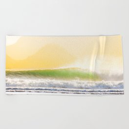 Perfect wave with offshore wind Beach Towel