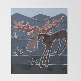 Blue Mountain Moose Throw Blanket