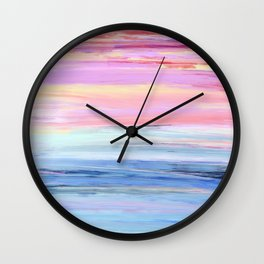 Pastel Ocean Sunset Abstract Wall Clock