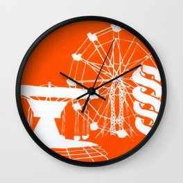 Seaside Fair in Orange Wall Clock