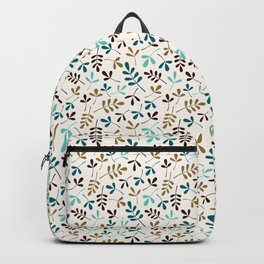 Assorted Leaf Silhouettes Teals Brown Gold Cream Ptn Backpack