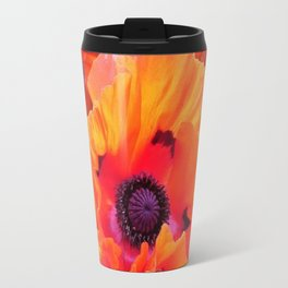 MODERN  RED-ORANGE POPPY FLOWERS  PATTERNS Travel Mug