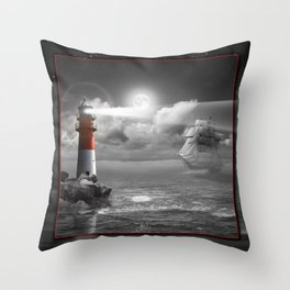 Lighthouse and Sailboat under moonlight Throw Pillow