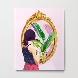 Soul Mirror, Instrospection Mindful Mood Illustration, Tropical Banana Leaves Woman Portrait Gold Metal Print