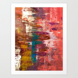 Desert Sun [3]: A bright, bold, colorful abstract piece in warm gold, red, yellow, purple and blue Art Print