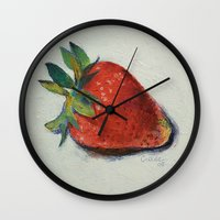 strawberry Wall Clocks featuring Strawberry by Michael Creese