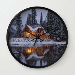 Cabin in Winter Woods (Color) Wall Clock